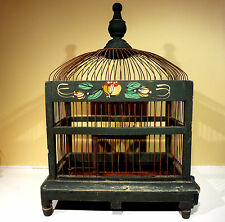 Antique Vintage Victorian Wood & Wire Bird Cage Hand Painted w/Tray Shabby Chic