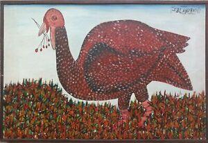 VINTAGE ORIGINAL HAITIAN ART OIL PAINTING SISSON BLANCHARD HAITI TURKEY 2114
