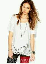 NEW Free People Ivory Tee - The Stone Lace Detail Size XS