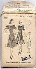 RARE 1930/40's Vintage Butterick 8298 Sewing Pattern Ladies Frock Dress + Deltor