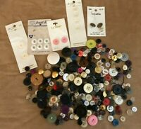 Vintage button lot sewing craft multi color some on card mixed collection