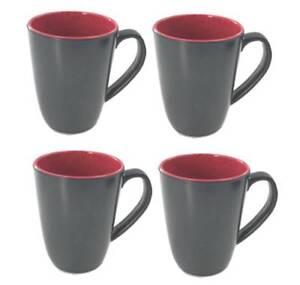Flamefield Set of four 4 Granite Ruby Red Melamine Kitchen Camping Mug Set