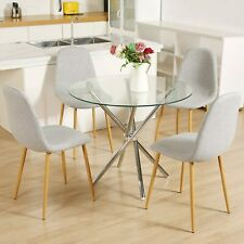 Glass Dining Table Set Round Dining Table Kitchen Table and 4 Grey Side Chairs