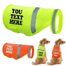 Custom Print High Vis Dog Safety Vest Reflective Pet Harness Personalized w/Name