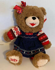 Holiday Time 2019 Snowflake Brown Teddy Bear Red White Blue Corduroy Dress NWT