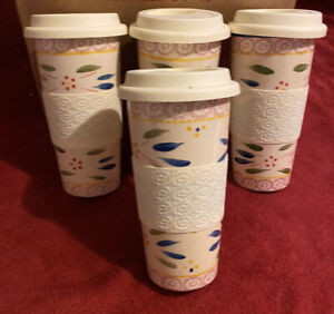 """4 Temptations by Tara Old World 16 oz Travel Cup 7 1/2"""" Tumbler Lid Coffee Drink"""