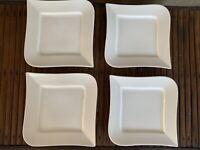 """Lot of 4 Fortessa Fortaluxe Ojo Super White Dessert/Pie Plates Never Used 7"""""""