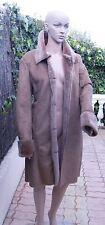 TEX sublime manteau femme taupe cuir velours + détails fausse fourrure ttbé 46