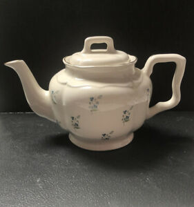 Teapot # 6100 Gold Trim Arthur Wood England Vintage Ivory with Blue Flowers
