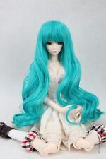 "BJD Doll Hair Wig 8-9"" 1/3 SD DZ DOD LUTS Blue Long Wavy Hair Neat bang"