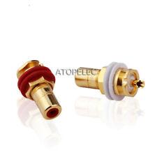 2pcs Cmc 816-Wu Gold Plated Rca Jack Female Socket Connector Panel Mount