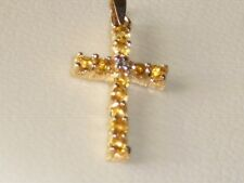 Citrin Diamant  9K Gelbgold Kreuz Anhänger
