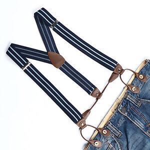 Men Suspenders Adjustable Elastic Braces Faux Leather Button Holes Stripes BD757