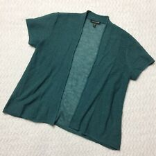 Eileen Fisher Short Sleeve Kimono Shrug Wool Knit Sea Green Size XS