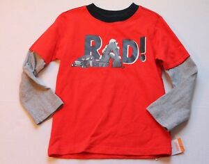 Gymboree King of Cool Rad Red Shirt Top Boy's Size 4 Long Sleeves Layered Look