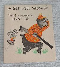 Vintage American Greetings Get Well Card Foldout Poster Cartoon Bear FREE S/H