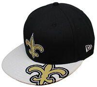 NFL® New Era® New Orleans Saints Dub Logo 9Fifty™ Black/Wht Snapback Hat Sz M/L
