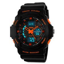 Digital Uhr Silikon Sportuhr Herren Armbanduhr Quarzuhr Wasserdicht Uhr Orange