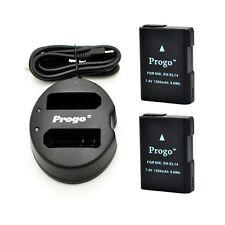 2x Battery and Dual USB Charger for Nikon EN-EL14 D3200 D3300 D5100 D5200 D5300