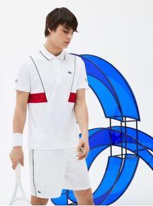 Lacoste * Novak Djokovic Ultra Dry UV50 Sports Pique Polo White/Red Size 5 L