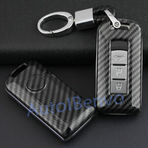 Carbon Fiber ABS Solid Car Key Chain Protector For Mitsubishi Outlander ASX RVR