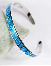 Stunning 925 Sterling Silver Blue Fire Opal & White Topaz Open Bangle 19cm 19g