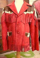 1940 Childs Red Kidskin Suede & Cowhide Fringed Jacket Tregos Western Wear 7-9 ?