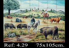 "TOROS EN CAMPO (35 AZULEJOS 15x15cm.) "" BULLS FIELD "" ( 35 TILES 6"" x 6"" )"