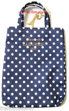 LADUREE French Blue White Polka Dots MINI Tote Bag + EIFFEL TOWER Charm/Keychain