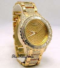 Gents Ladies Unisex Gold Plate Rapper Ice Gem Pimp Bling Baguette Crystals Watch