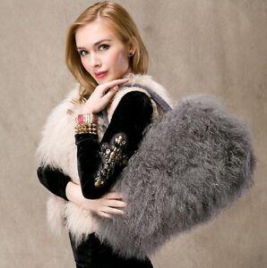 women fashion new real long lamb fur/mongolian fur bag handbag