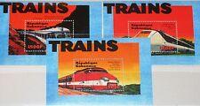GABON GABUN 2000 Block 107-09 S/S 993-95 Locomotives Züge Trains Eisenbahn MNH