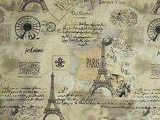 VINTAGE PARIS EIFFEL TOWER MAP SCRIBE TANS COTTON FABRIC BTHY