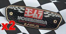 2pcs Yoshimura Exhaust Emblem Decal USA Motorcycle Muffler Aluminium Metal Plate