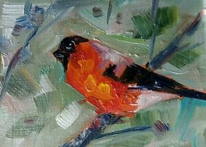 original oil painting  ACEO on paper bullfinch bird on tree forest sky by SIBY