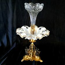ANTIQUE GILDED BRONZE & GLASS CENTER PIECE ENAMEL & GOLD DECORATION,MAGNIFICENT.