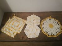 Vintage Hand Crocheted Potholders Hot Pads Yellow and White Lot of 5 Gorgeous!