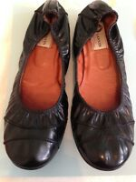Lanvin classic black leather ballet flats with stitching detail on toe 40.5