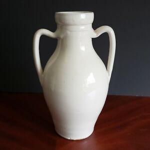 Global Views Vase Glazed Ceramic Mediterranean Style Ivory 2 Handle NWT