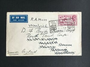 INDIA 1935 8a STATIONARY AIR MAIL COVER REDIRECTED TO ENGLAND