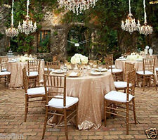 Special offer Champagne Sequin Tablecloth 96'' Round for Wedding/Dessert Table