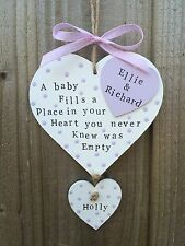 Personalised Plaque Sign New Baby Newborn Nursery Room Christening Gift Present