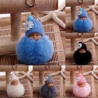 Cute Sleeping Baby Key chains Doll Rabbit Fur Fluffy PomPom Bag Decor Keyrings T