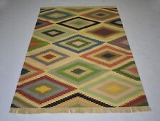 Multi Color Traditional Cotton Kilim Rug Geometric 4x6 Feet Home Decorative Rug