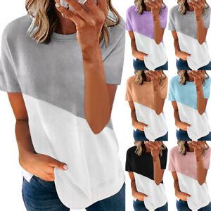 Womens Short Sleeve T-Shirt Blouse Summer Loose Tunic Tee Plain Tops Plus Size