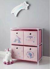 Pink Unicorn 4 Drawer Chest Of Drawers Toys Storage Unit Kids Bedroom Organiser