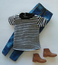 Barbie/KEN Clothes/Fashions Black And White Striped Shirt/Jeans /Shoes NEW!