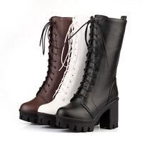 Womens Lace Up Platform Block High Heels Lined Boots Goth Punk Combat Boots