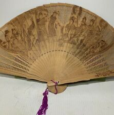 Chinese Vintage Wooden Folding Hand Fan Chinese Women Pattern With Original Box