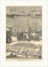 Galatz Galati Donau Hafen Schiffe Rumänien Westmoldau Winter Holzstich E 11105